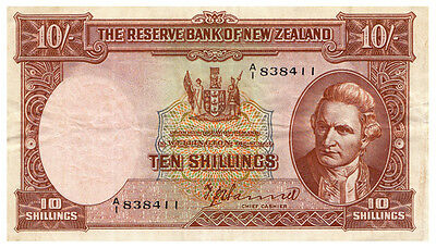 New Zealand 1940-1955 T P HANNA letter over number 10 Shilling Note VF