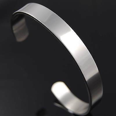 Genuine Solid Stainless Steel Polished Cuff Bangle Engravable ID or Medical info