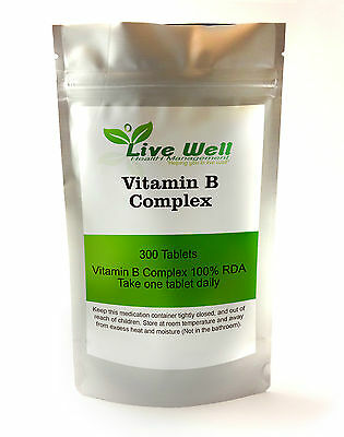 Vitamin B Complex providing 100% RDA of all eight essential B vitamins