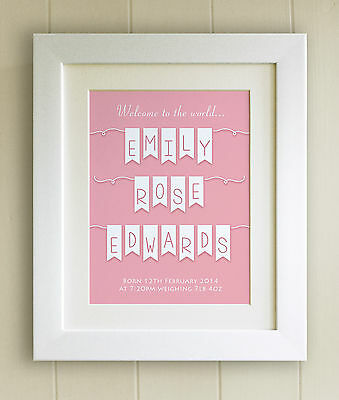 PERSONALISED New Baby/Birth FRAMED PRINT, Boy & Girl, Fab Word Art Picture Gift
