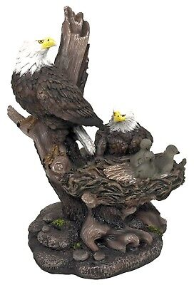 """Icarus Bald Eagles Family on Tree Nest Figurine Realistic Statue 12""""H Decoration"""