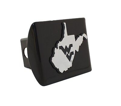 West Virginia State Shape Black Metal Hitch Cover