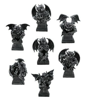 "Winged Gargoyle Magnificent Seven Deadly Sins Collection Set Figurine Statue 8""H"