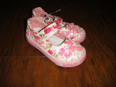 Lelli Kelly 23 6.5 White Pink Sequen Floral Shoes