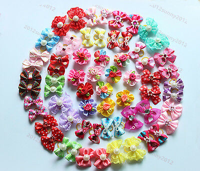 100pcs Pet Puppy Dog Cat Hair Bows Pet Dog Grooming Accessories Mix Styles