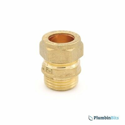 "Compression 15mm Copper to 1/2"" BSP MI Brass Male Iron Thread Connector Adapter"