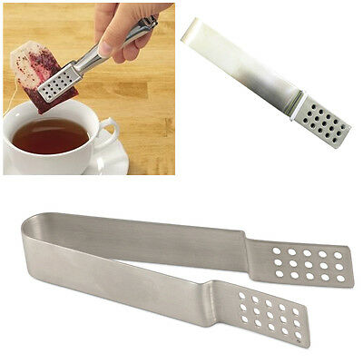 Tea Bag Squeezer Strainer Tong Holder Grip Squeeze Metal Teabags Stainless Steel