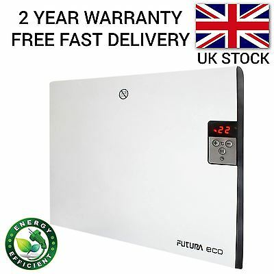 400W Electric Panel Heater Thermostat Timer Radiator Slim Convector Wall Mounted