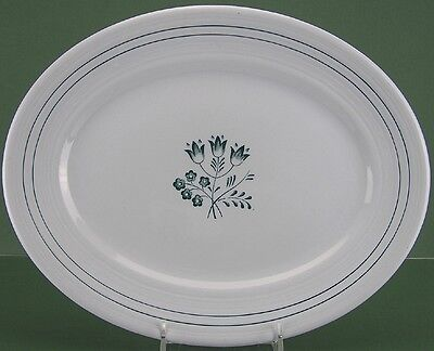 "Booths China, Blue Mist Design, Canterbury-Green Pattern, 14"" Oval Platter -0113"