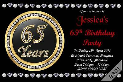 10 X Personalised 65th MEN WOMEN Birthday Party Invitations Invites Envelopes
