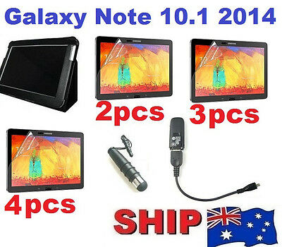 Leather Case Screen Protector Fr Samsung Galaxy Note 10.1 2014 Edition P600 P601