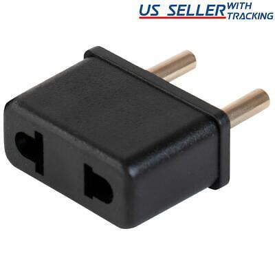 US USA to EU Euro Europe Power Jack Wall Plug Converter Travel Adapter Adaptor