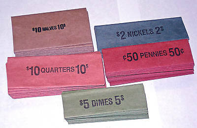 100 Assorted Mixed Coin Old Style Flat Wrappers
