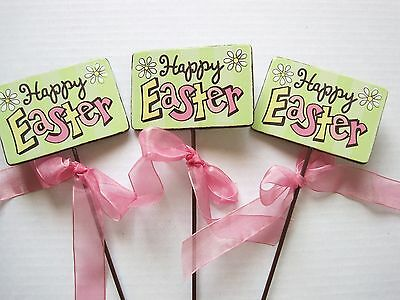 Floral Picks HAPPY EASTER Card Holder with Bow Pk/6 NEW!