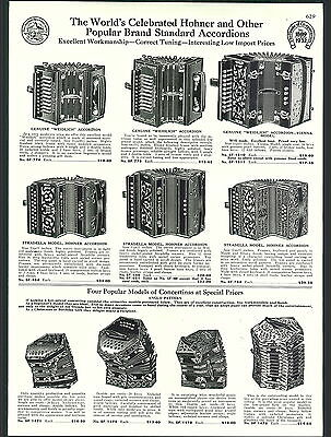 1932 AD Hohner Accordion Weidlich Strasella Anglo Sheet Music Piano Roll Cabinet