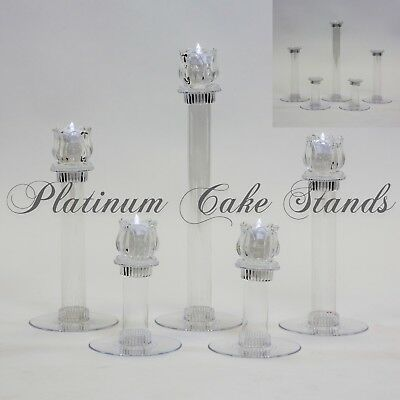 Cake Stand Glass Votive Candle Set 5 Tier Plates (STYLE V133)