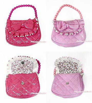 Enamel Leather Hot Light Pink Ruffle Bow Plaid Bead Chain Kids Girl Handbag