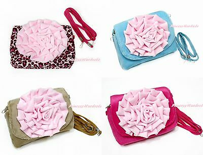 Hot Pink Leopard Blue Khaki Fluff Big Pink Flower Kids Girl Shoulder Handbag