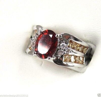"R#2560 ""simulated"" Oval cut Red Garnet gemstone ladies silver ring size 8.25"