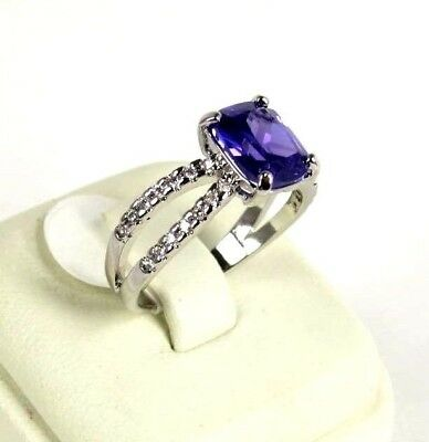 "R#2891 ""Simulated"" Purple Amethyst gemstone ladies silver ring size 9"