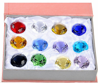 Box 12pc 30mm Mix Colors Crystal Paperweight Diamond Shape Glass Wedding Favor