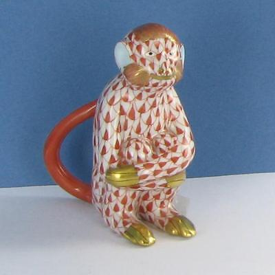 "Herend VH15386-0-00 Monkey w/ Arms Folded Rust Fishnet 2.75"" NWOT $260"