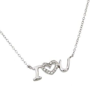 Sterling Silver Necklace w/ CZ Stones Heart I Love You Pendant