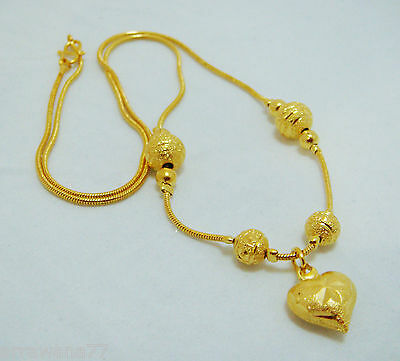 "Beaded, Heart 22K 24K Thai Baht Yellow GP Gold 17 "" Necklace Jewelry N_22"