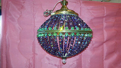 Antique Original Iridiscent Crystal Chandelier