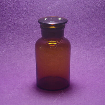 250ML Amber Glass Reagent bottle,wide mouth,Ground stopper,Lab Glassware