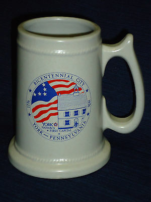 "5.5"" ceramic BICENTENNIAL CITY YORK PA Beer Mug or Stein"