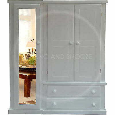 Hand Made Dewsbury Furniture Triple Full Mirrored Wardrobe White (Assembled)