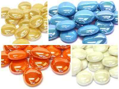 100 x Glass Pebbles / Nuggets / Stones / Mosaic Tiles ~ Opalescent Variety