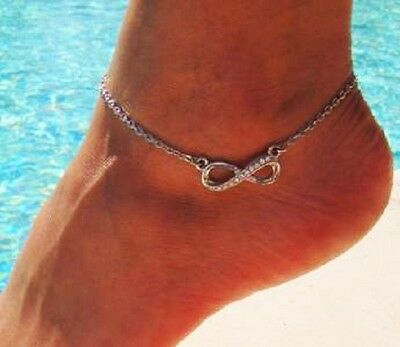 Crystal/rhinestone infinity leg anklet ''The Latest Trend of Celebrities'' #L14
