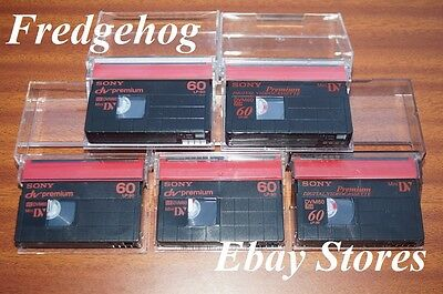 5 x SONY MINI DV VIDEO CAMCORDER TAPES / CASSETTES - PREMIUM QUALITY - DVM-60