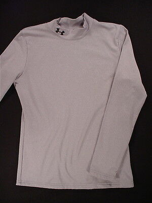 Under Armour COLD GEAR Fitted Long Sleeve Mock Shirt (Youth XL) Silver