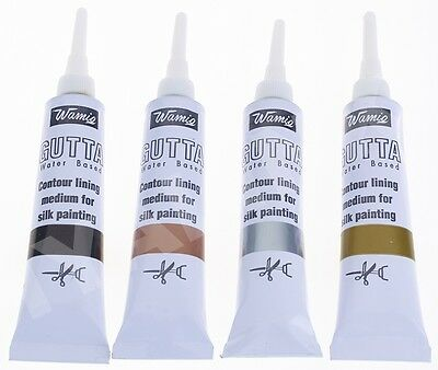 WamiQ 20 ml Silk Painting Water Based  Gutta Tube - Gold, Silver, Black & Copper