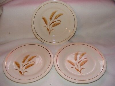 "3 Knowles Semi Vitreous Golden Wheat 6.5"" Plates USA"