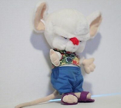 """Pinky & the Brain 9"""" Plush Toy Brain Doll in Shorts 1997"""