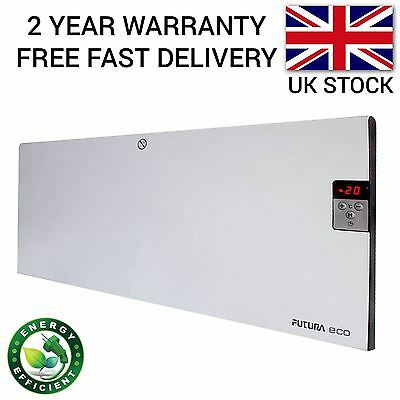 1Kw Slim Electric Wall Mounted Panel Heater Radiator Convector Thermostat Timer