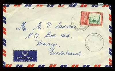 BRITISH SOLOMON Is.1961 AIRMAIL 3d...MUNDA POSTMARK