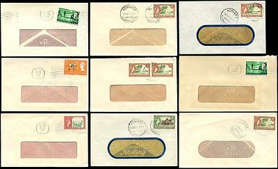 BRITISH SOLOMON Is.1963-69 W C PENFOLD BRANDED WINDOW ENVELOPES.9 DIFF.FRANKINGS