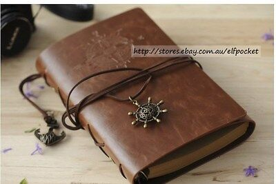 Coffee Brown Vintage Traveler Sailing Bound Diary Journal Notebook PU Leather