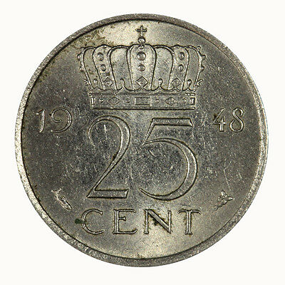"Netherlands 1948 25 Cent ""One Year Type"" Coin Brillian UNC"