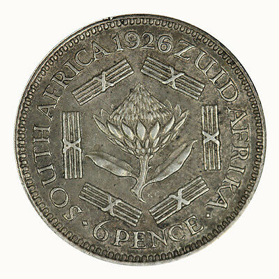 South Africa 1926 Sixpence Coin gEF