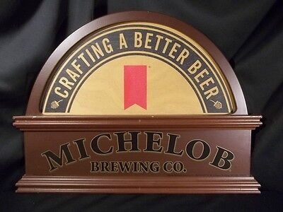 RARE LARGE WOODEN MICHELOB BREWING CO. Bar Sign 20X15 CRAFTING A BETTER BEER