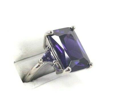 R#2995 Simulated Purple Amethyst gemstone ladies solitaire silver ring size 7