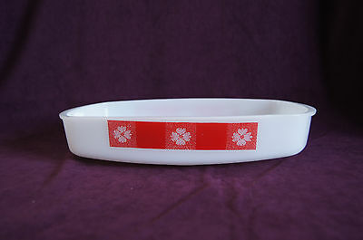 RARE Federal Glass Country Kitchen low loaf pan red check white flowers VGUC