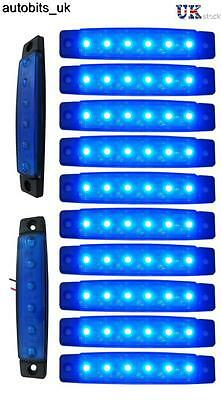 10 pcs Blue 24V 6 LED Side Marker Indicators Lights Truck Trailer Bus
