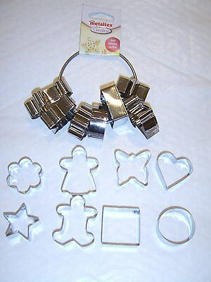Cookie Pastry Cutter Pack Of 8 Cutters + Ring - Heart Star Decorating Sugarcraft